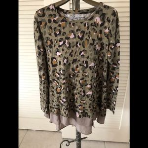 Camouflage knit top by LOGO- Size Medium